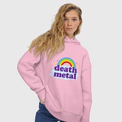 Толстовка оверсайз женская Death Metal: Rainbow цвета светло-розовый — фото 2