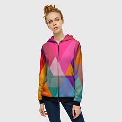 Толстовка на молнии женская Разноцветные полигоны цвета 3D-черный — фото 2