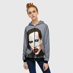 Толстовка на молнии женская Mаrilyn Manson Art цвета 3D-черный — фото 2
