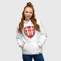 Толстовка-худи хлопковая женская Arsenal FC цвета белый — фото 2