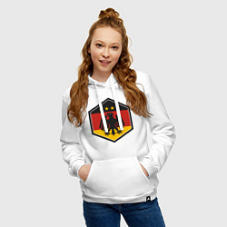 Толстовка-худи хлопковая женская Немецкий фанат цвета белый — фото 2