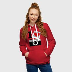 Толстовка-худи хлопковая женская Я люблю фото цвета красный — фото 2