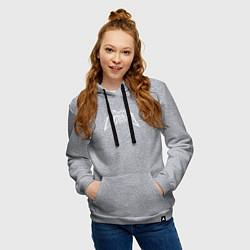 Толстовка-худи хлопковая женская Пошлая Молли: Лого цвета меланж — фото 2