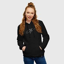 Толстовка-худи хлопковая женская ВЦой Автограф цвета черный — фото 2