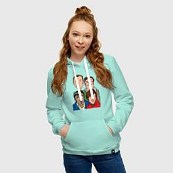 Толстовка-худи хлопковая женская The Big Bang Theory Guys цвета мятный — фото 2