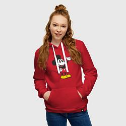 Толстовка-худи хлопковая женская Микки Маус цвета красный — фото 2