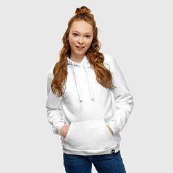 Толстовка-худи хлопковая женская МОБ ПСИХО 100 цвета белый — фото 2