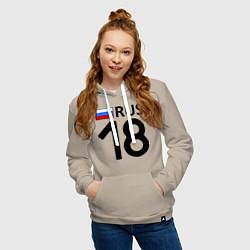 Толстовка-худи хлопковая женская RUS 18 цвета миндальный — фото 2