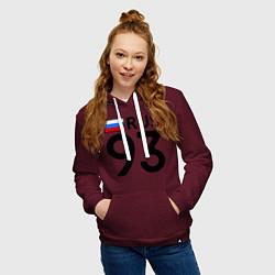 Толстовка-худи хлопковая женская RUS 93 цвета меланж-бордовый — фото 2