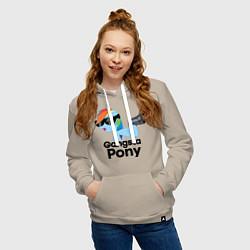 Толстовка-худи хлопковая женская Gangsta pony цвета миндальный — фото 2
