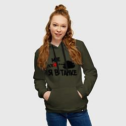 Толстовка-худи хлопковая женская Я в танке цвета хаки — фото 2