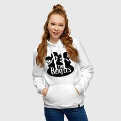 Толстовка-худи хлопковая женская The Beatles Band цвета белый — фото 2