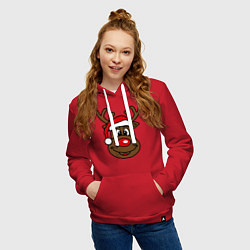 Толстовка-худи хлопковая женская Рождественский олень цвета красный — фото 2