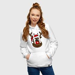 Толстовка-худи хлопковая женская Рождественский олень цвета белый — фото 2