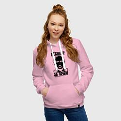 Толстовка-худи хлопковая женская Респект за крым цвета светло-розовый — фото 2