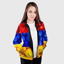 Куртка с капюшоном женская Флаг Армении цвета 3D-черный — фото 2