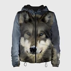 Куртка с капюшоном женская Зимний волк цвета 3D-черный — фото 1
