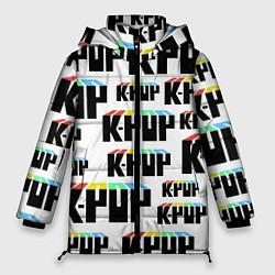 Женская зимняя 3D-куртка с капюшоном с принтом K-pop Pattern, цвет: 3D-черный, артикул: 10107152606071 — фото 1