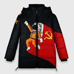 Женская зимняя 3D-куртка с капюшоном с принтом Советский Гагарин, цвет: 3D-черный, артикул: 10108019006071 — фото 1