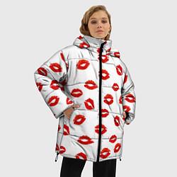 Куртка зимняя женская Поцелуйчики цвета 3D-черный — фото 2