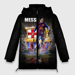 Женская зимняя 3D-куртка с капюшоном с принтом Messi FCB, цвет: 3D-черный, артикул: 10112080706071 — фото 1