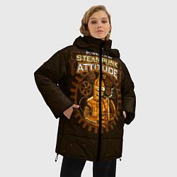 Женская зимняя 3D-куртка с капюшоном с принтом Steampunk Attitude, цвет: 3D-черный, артикул: 10113802106071 — фото 2
