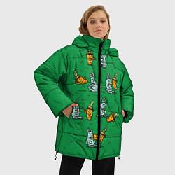 Женская зимняя 3D-куртка с капюшоном с принтом Боевая морковь, цвет: 3D-черный, артикул: 10117527206071 — фото 2