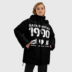 Женская зимняя 3D-куртка с капюшоном с принтом Дата выпуска 1990, цвет: 3D-черный, артикул: 10122752606071 — фото 2