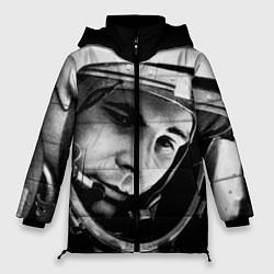 Женская зимняя 3D-куртка с капюшоном с принтом Гагарин космонавт, цвет: 3D-черный, артикул: 10123898906071 — фото 1