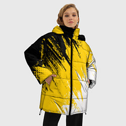 Женская зимняя 3D-куртка с капюшоном с принтом Имперский флаг России, цвет: 3D-черный, артикул: 10124379806071 — фото 2