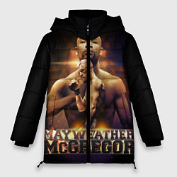Женская зимняя 3D-куртка с капюшоном с принтом Mayweather vs McGregor, цвет: 3D-черный, артикул: 10132247306071 — фото 1