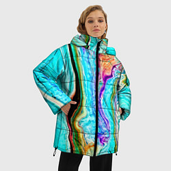 Женская зимняя 3D-куртка с капюшоном с принтом Цветные разводы, цвет: 3D-черный, артикул: 10134102306071 — фото 2