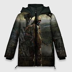 Женская зимняя 3D-куртка с капюшоном с принтом STALKER: Call of Pripyat, цвет: 3D-черный, артикул: 10135203906071 — фото 1