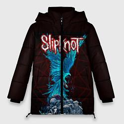 Женская зимняя 3D-куртка с капюшоном с принтом Орел группа Slipknot, цвет: 3D-черный, артикул: 10135999506071 — фото 1