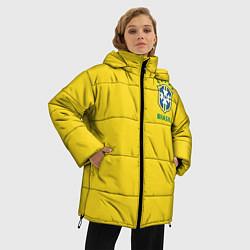 Женская зимняя 3D-куртка с капюшоном с принтом Сборная Бразилии, цвет: 3D-черный, артикул: 10143141106071 — фото 2