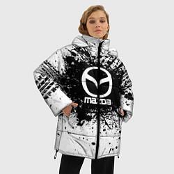 Женская зимняя 3D-куртка с капюшоном с принтом Mazda: Black Spray, цвет: 3D-черный, артикул: 10147676306071 — фото 2