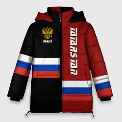 Женская зимняя 3D-куртка с капюшоном с принтом Tatarstan, Russia, цвет: 3D-черный, артикул: 10149343306071 — фото 1