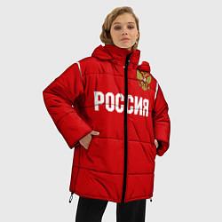 Женская зимняя 3D-куртка с капюшоном с принтом Сборная России, цвет: 3D-черный, артикул: 10151995506071 — фото 2