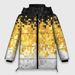 Женская зимняя 3D-куртка с капюшоном с принтом Имперский флаг пикселами, цвет: 3D-черный, артикул: 10152081106071 — фото 1