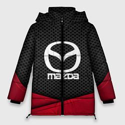 Женская зимняя 3D-куртка с капюшоном с принтом Mazda: Grey Carbon, цвет: 3D-черный, артикул: 10152624706071 — фото 1
