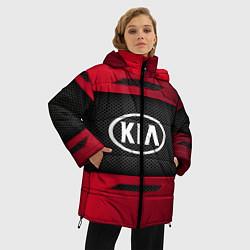 Женская зимняя 3D-куртка с капюшоном с принтом KIA Collection, цвет: 3D-черный, артикул: 10152928906071 — фото 2
