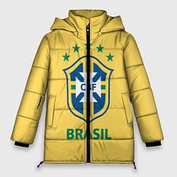 Женская зимняя 3D-куртка с капюшоном с принтом Brazil Team, цвет: 3D-черный, артикул: 10154256306071 — фото 1