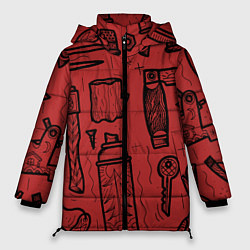Женская зимняя 3D-куртка с капюшоном с принтом Инструменты мужика, цвет: 3D-черный, артикул: 10158125706071 — фото 1