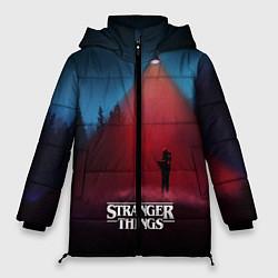Женская зимняя 3D-куртка с капюшоном с принтом Stranger Things: Red Lantern, цвет: 3D-черный, артикул: 10167395106071 — фото 1