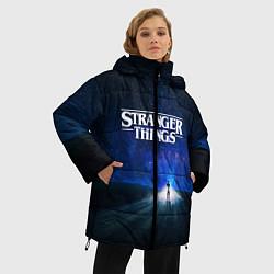 Женская зимняя 3D-куртка с капюшоном с принтом Stranger Things: Road Light, цвет: 3D-черный, артикул: 10167402106071 — фото 2
