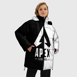 Женская зимняя 3D-куртка с капюшоном с принтом Apex Legends: Black & White, цвет: 3D-черный, артикул: 10172618306071 — фото 2