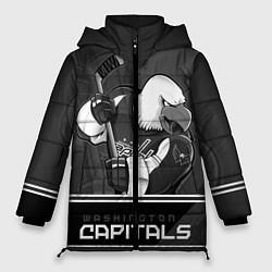Женская зимняя 3D-куртка с капюшоном с принтом Washington Capitals: Mono, цвет: 3D-черный, артикул: 10178513306071 — фото 1