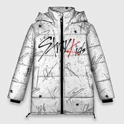 Женская зимняя 3D-куртка с капюшоном с принтом STRAY KIDS АВТОГРАФЫ, цвет: 3D-черный, артикул: 10185291306071 — фото 1