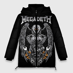 Женская зимняя 3D-куртка с капюшоном с принтом Megadeth, цвет: 3D-черный, артикул: 10218174706071 — фото 1