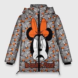 Женская зимняя 3D-куртка с капюшоном с принтом No spoilers , please!, цвет: 3D-черный, артикул: 10261225106071 — фото 1